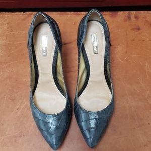 DUMOND Black crock leather heels